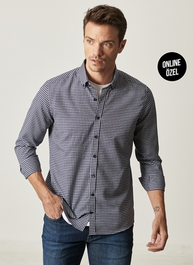 AC&Co / Altınyıldız Classics Tailored Slim Fit Dar Kesim Düğmeli Yaka Kareli Gömlek 4A2021100065 Siyah